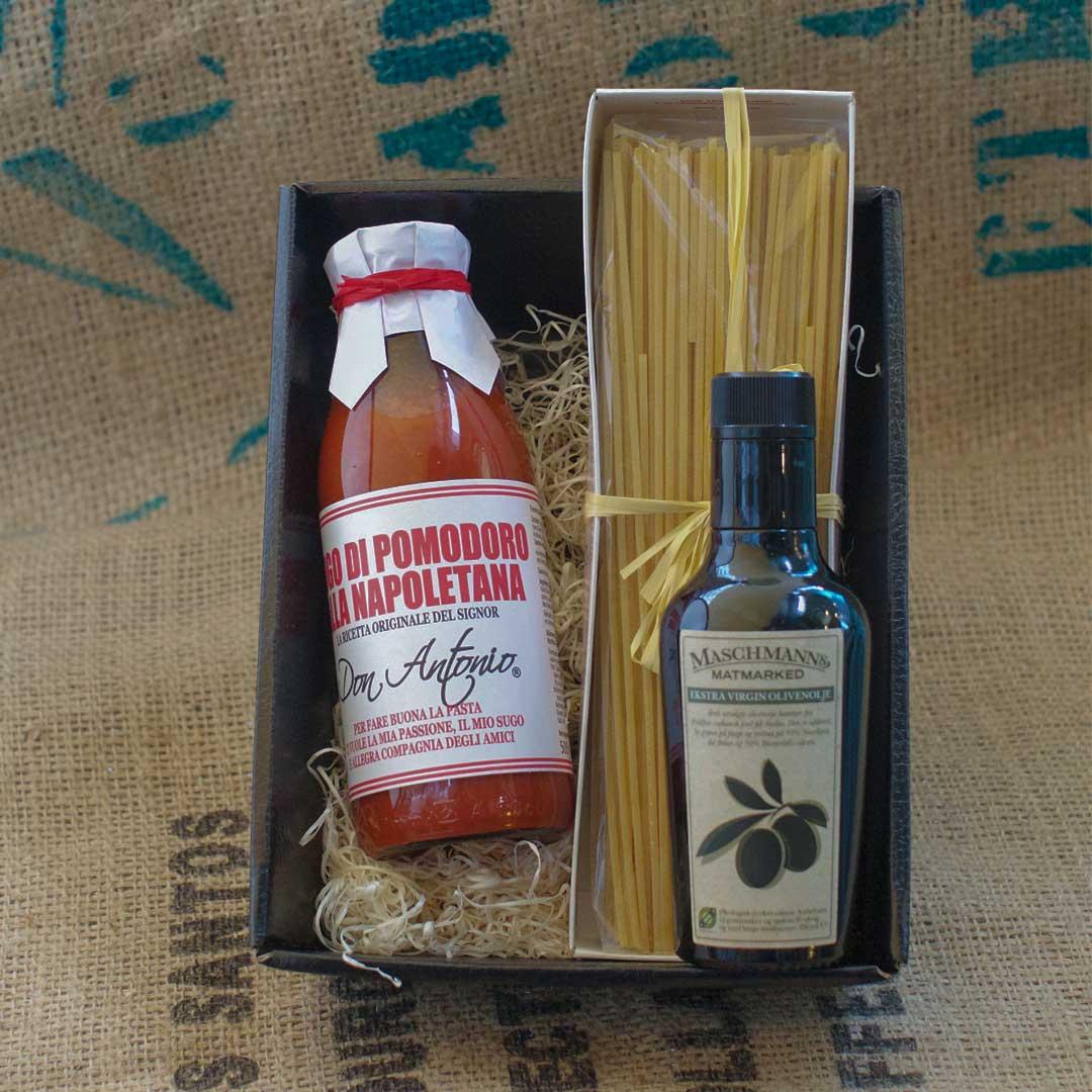 Gavkurv fra Maschmanns. Pasta,tomatsaus og extra virgin olivenolje fra noen av fremste produsentene i Italia.