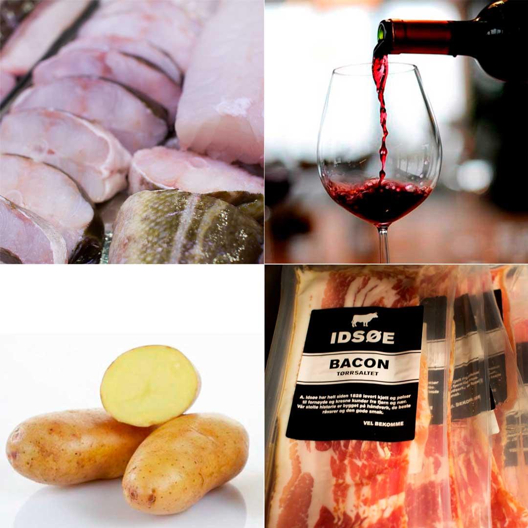 Skrei med potetpure, bacon og rødvinssaus