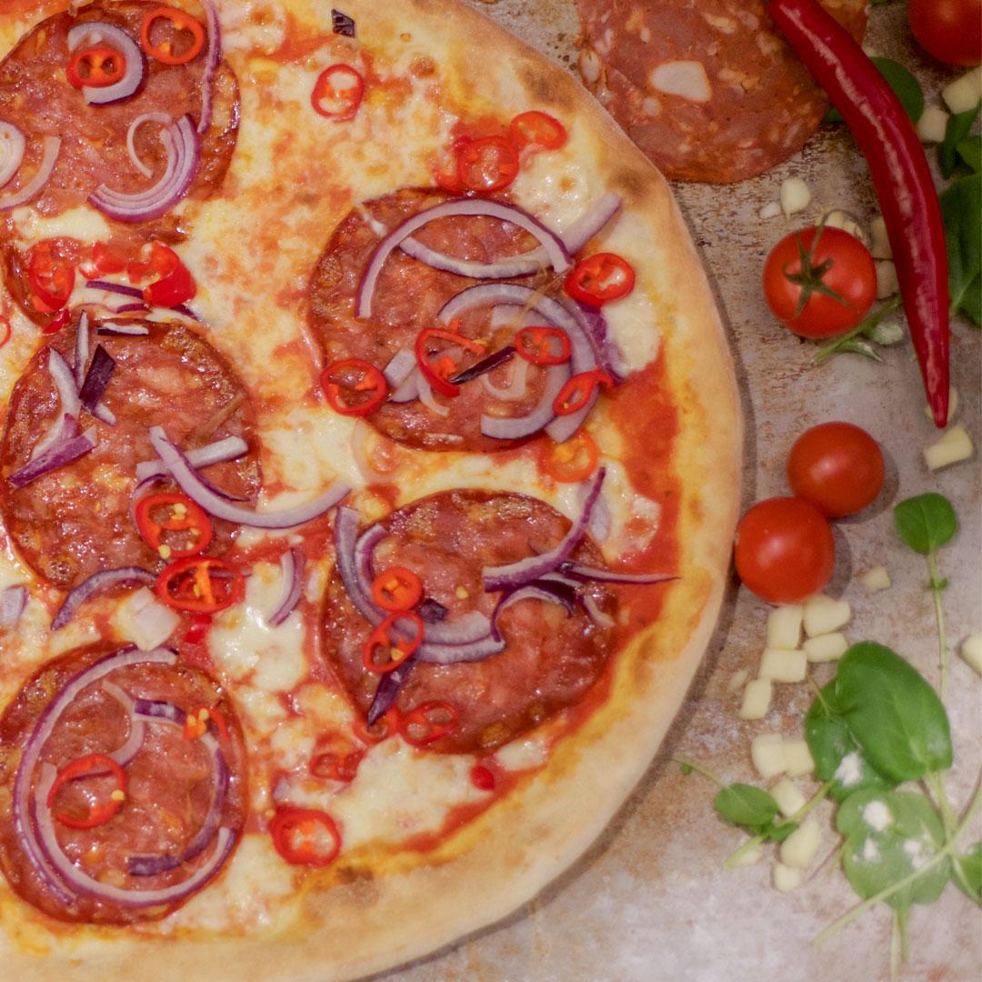 Pizza Volcano fra Maschmanns Bakeri