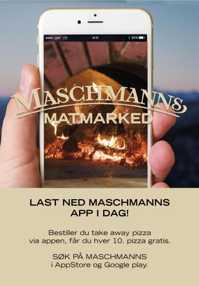 Last ned Maschmanns app og få hver 10. pizza gratis.