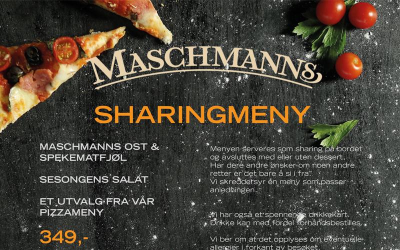 Sharingmeny fra Maschmanns Bakeri